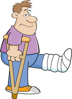 Cartoon illustration of a man on crutches with his leg in a cast.